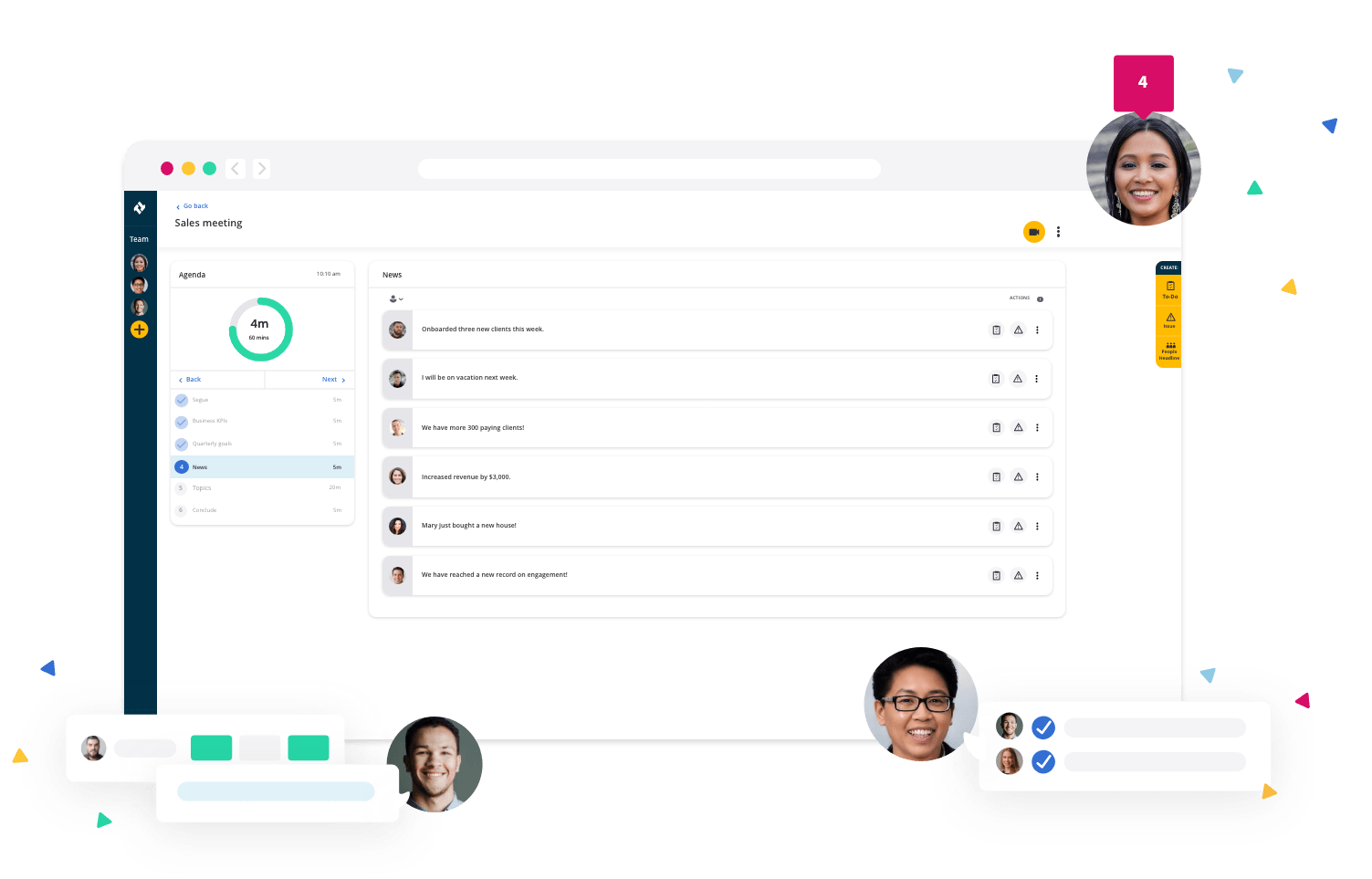 Image of meetings.io software with people around it